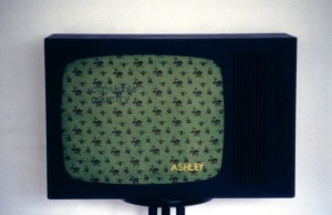 38. 'wall-paper-teevee', TV, paint and textile, 12x16x12 ins.,  1989