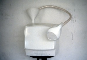 40. 'twenty-four-seven-teevee', TV, paint and plastic utensils, 18x18x12 ins., , 1989
