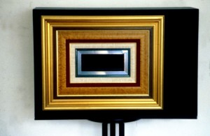41. 'frame-without-end-teevee', TV, paint and frames, 12x16x12 ins.,  1988