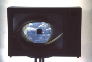 46.  'blue-yonder-teevee', TV and paint, 12x16x12 ins.,  1988